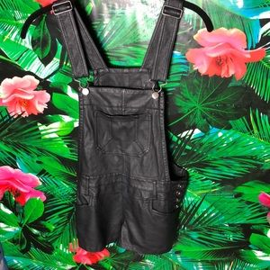 Black Faux Leather Shorts Overalls
